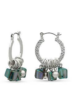 Kim Rogers Silver-Tone Shell Hoop Earrings