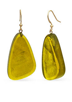 Kim Rogers Gold-Tone Yellow Resin Earrings
