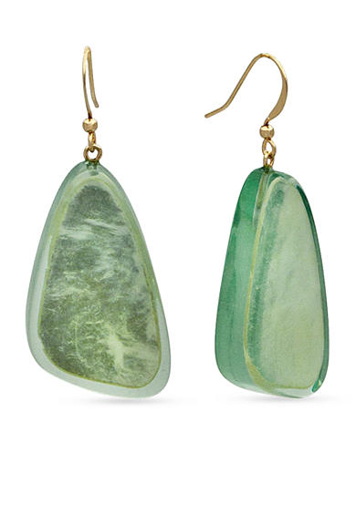 Kim Rogers® Gold-Tone Green Uneven Oval Drop Earrings