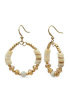 Kim Rogers Gold-Tone Beach Pebbles Beaded Natural Gypsy Hoop Earrings