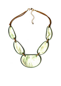 Kim Rogers Gold-Tone Green Uneven Oval Statement Necklace