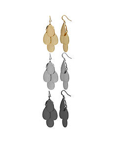 Kim Rogers Tri-Tone Sensitive Skin Trio Chandelier Earring Set