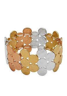 Kim Rogers Tri-Tone Sensitive Skin Discs Stretch Bracelet