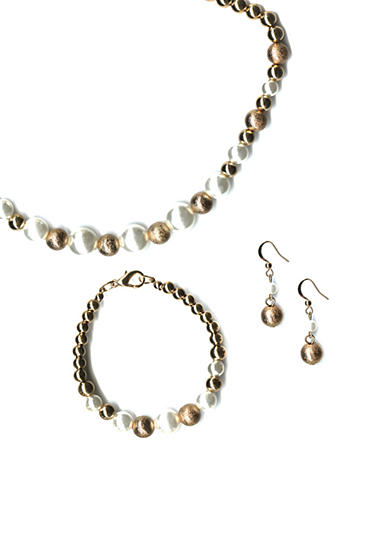 Kim Rogers® Gold-Tone Boxed Pearl Necklace, Bracelet and Earring Set