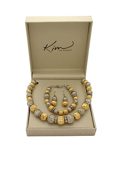 Kim Rogers® Boxed Two-Tone Fluted Bead Necklace, Bracelet and Earring Set
