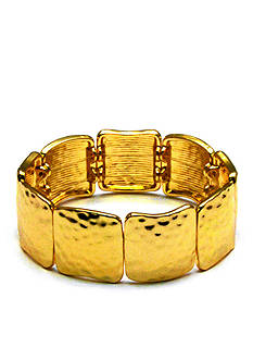 Kim Rogers® Gold-Tone Sensitive Skin Hammered Squares Stretch Bracelet