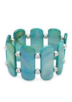 Kim Rogers Silver-Tone Rectangle Shell Stretch Bracelet