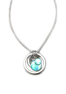 Kim Rogers Silver-Tone Circle Shell Long Pendant Necklace