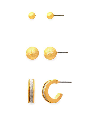 Kim Rogers® Gold-Tone Sensitive Skin Glitter Trio Earring Set