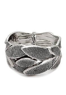 Kim Rogers® Silver-Tone Leaf Boxed Hinge Bracelet