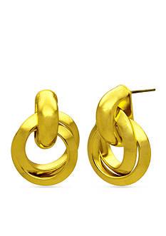 Kim Rogers Gold-Tone Twisted Doorknocker Earrings
