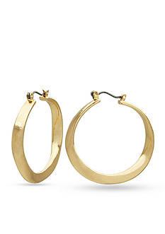 Kim Rogers Gold-Tone Sensitive Skin Wavy Hoop Earrings