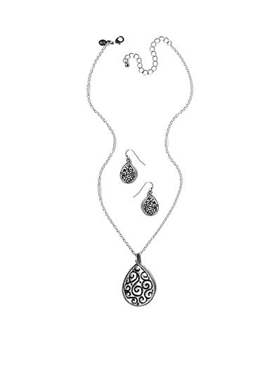 Kim Rogers® Silver-Tone Necklace and Earring Boxed Set
