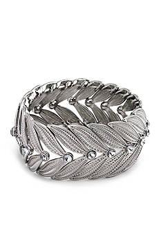 Kim Rogers Silver-Tone Leaf Crystal Stretch Bracelet