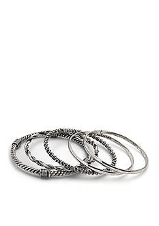 Kim Rogers Silver-Tone 5-Piece Bangle Bracelet Boxed Set