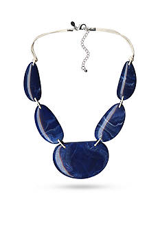 Kim Rogers Silver-Tone Blue Uneven Oval Statement Necklace