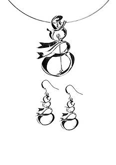 Kim Rogers Silver-Tone Ribbon Snowman Pendant Necklace and Earring Set