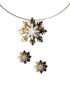 Kim Rogers Two-Tone Snowflake Pendant Necklace and Earring Set