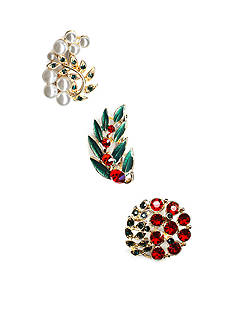 Kim Rogers® Gold-Tone Red & Green Trio Pin Set