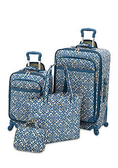 Waverly Boutique 4-Piece Luggage Set Lace It Up Aqua