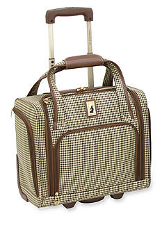 London Fog 15-in. 2-Wheel Under the Seat Bag - Olive Houndstooth