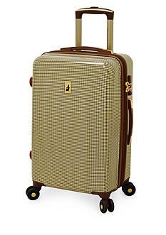 London Fog Cambridge Hardside Luggage Collection Olive Houndstooth