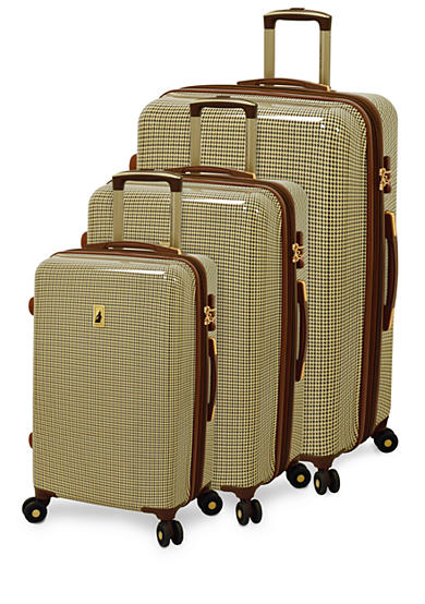 London Fog® Cambridge Hardside Luggage Collection Olive Houndstooth