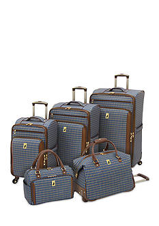 London Fog® Kensington 360 Ultra Light Expandable Spinner Luggage Collection - Blue Tan Plaid