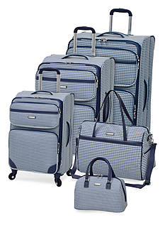 London Fog® Hampton 260HL Luggage Collection - Navy Gingham Check