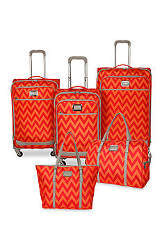 Jessica Simpson Chevron Luggage Collection - Orange Red Chevron