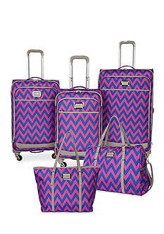 Jessica Simpson Chevron Luggage Collection - Orchid Blue Chevron