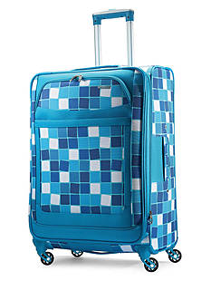 American Tourister Ilite Max Large Spinner -Light Blue Checks