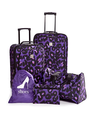 New Directions® 5-Piece Luggage Set - Purple Leopard