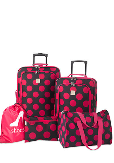New Directions® 5-Piece Luggage Set - Pink Dot