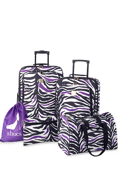 New Directions® 5-Piece Luggage Set - Black and Purple Zebra