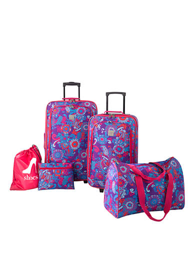 New Directions® 5-Piece Luggage Set - Purple Paisley