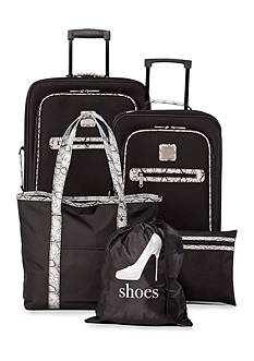 New Directions 5-Piece Black with Snake Print Trim Luggage Set