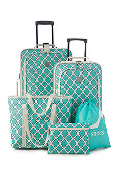 New Directions® 5-Piece Turquoise Trellis Luggage Set