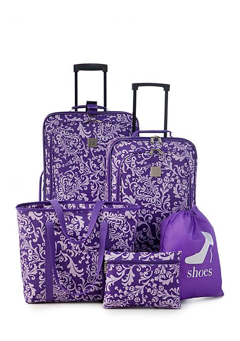 New Directions 174 5 Piece Purple Vine Luggage Set Belk