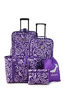 New Directions® 5-Piece Purple Vine Luggage