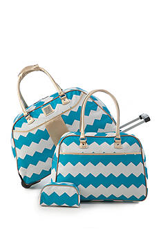 New Directions 3-Piece Turquoise Chevron Luggage Set
