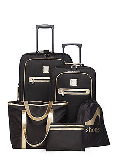 New Directions 5-Piece Luggage Set Black Gold Trim