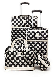 New Directions Jet Set Spinner 4-Piece Dot Luggage Set