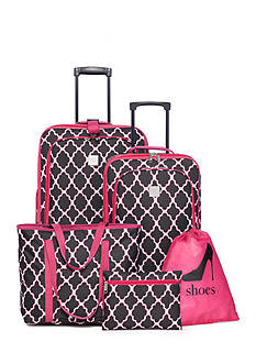 New Directions 5-Piece Luggage Set - Pink Black Trellis