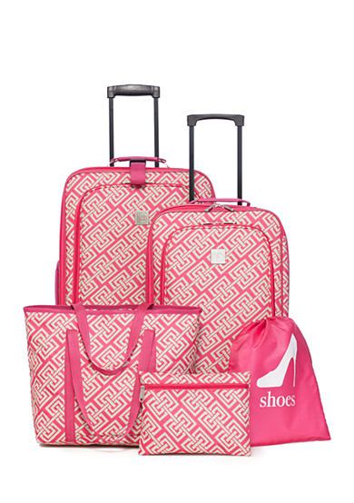 New Directions® 5-Piece Pink Lime Greek Key Luggage Set