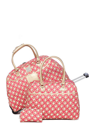 New Directions® 3-Piece Pink & Lime Geo Circle Luggage Set