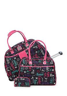 New Directions 3-Piece City Print with Pink Trim Luggage Set