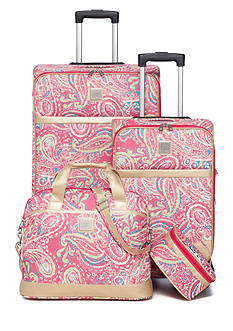 New Directions Jet Set Spinner 4-Piece Pink Paisley Luggage Set