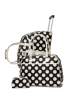 New Directions 3-Piece Luggage Set - Black and White Dot
