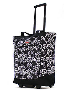 Olympia Luggage OLYMPIA FASHION ROLLING SHOPPER TOTE DAMASK BLACK - Style RS-400